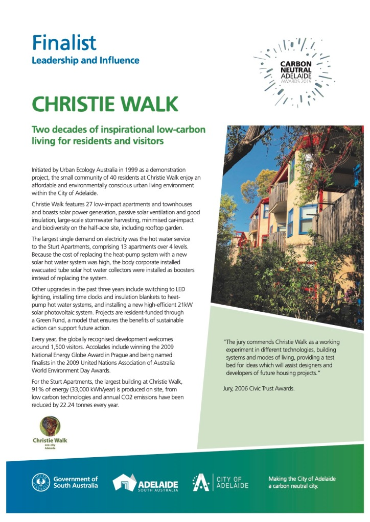 Christie Walk - from the Carbon Neutral Adelaide Awards 2019 booklet